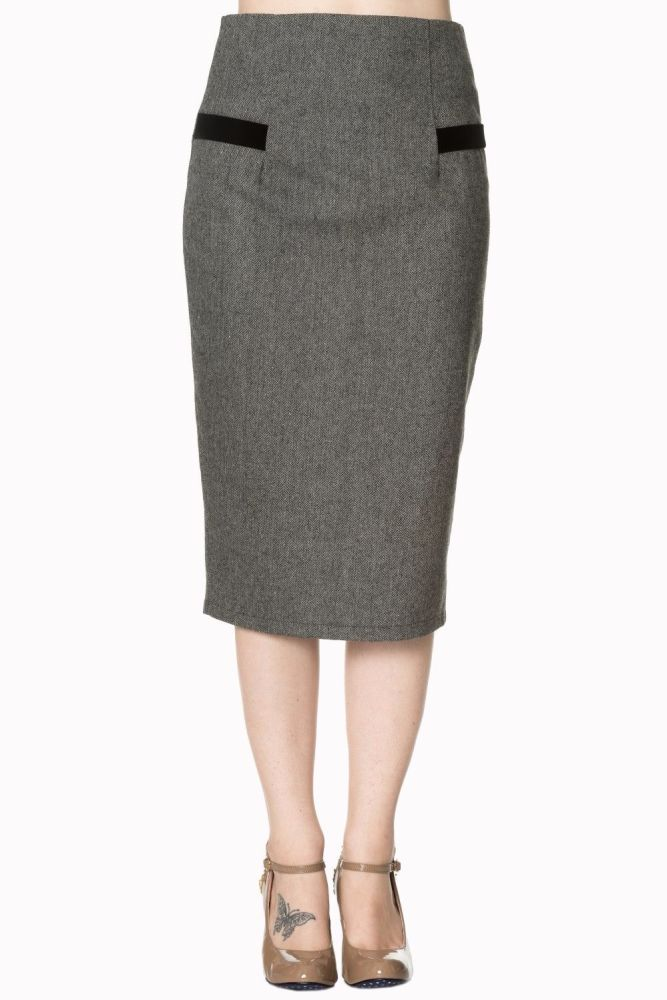 Lady Luck Pencil Skirt - Black & White - Last One in a Size 4XL (UK 22)