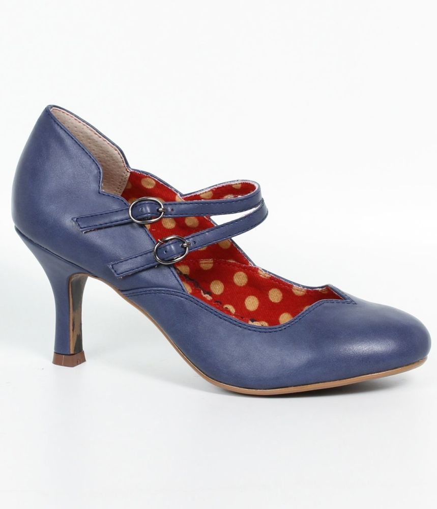 Bettie Page 1940's / 1950's Halen Mary Jane Shoes in Blue