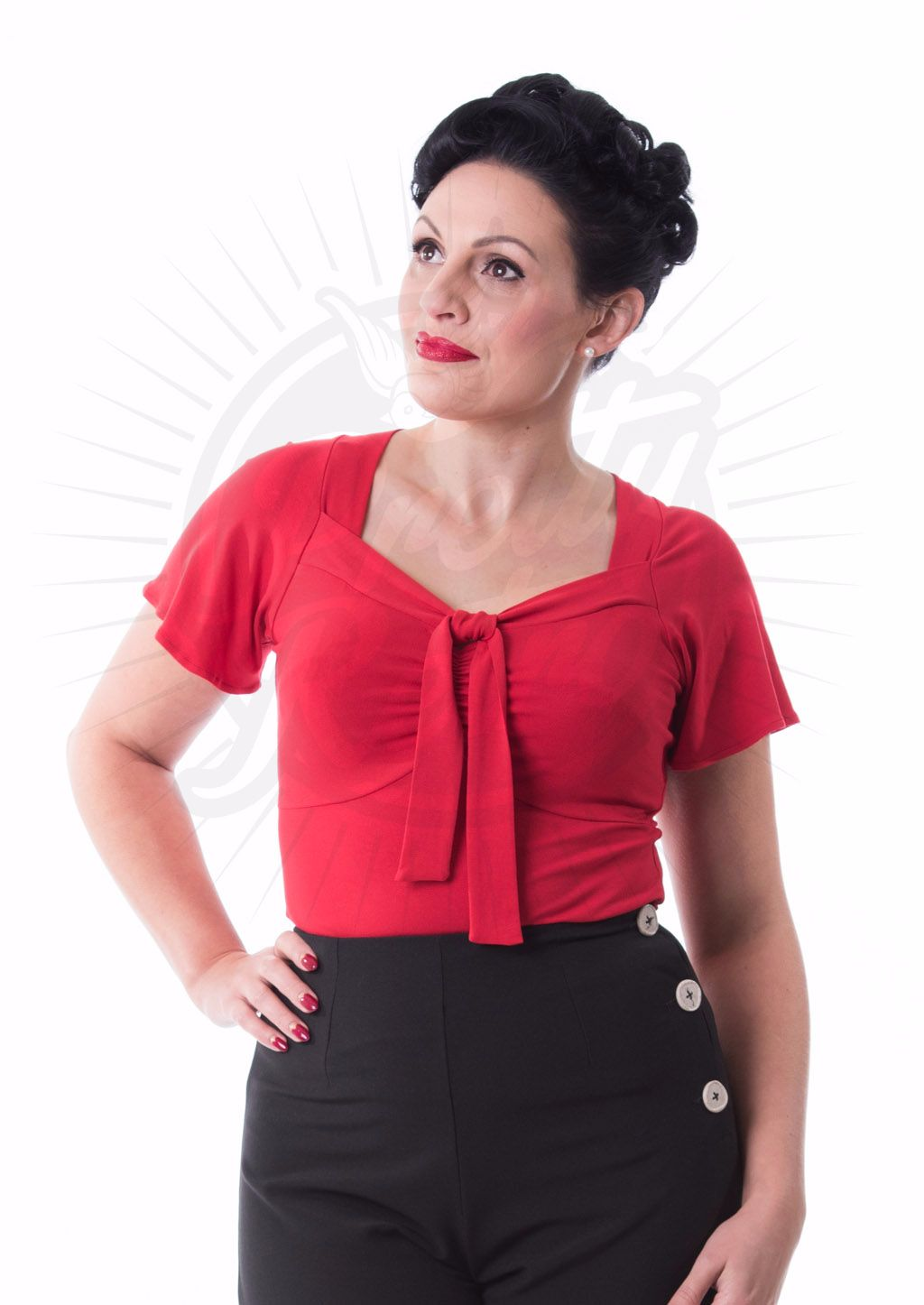 Pretty Retro Vintage Tie Top in Red