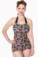 Dancing Days Rare Hearts One Piece Swimsuit - Sugar Skull Print - Size XS - LAST ONE!!!!