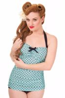 Dancing Days Rogues Full One Piece 1950's Style Swimming Costume in Blue & Black Polka Print - XS & S