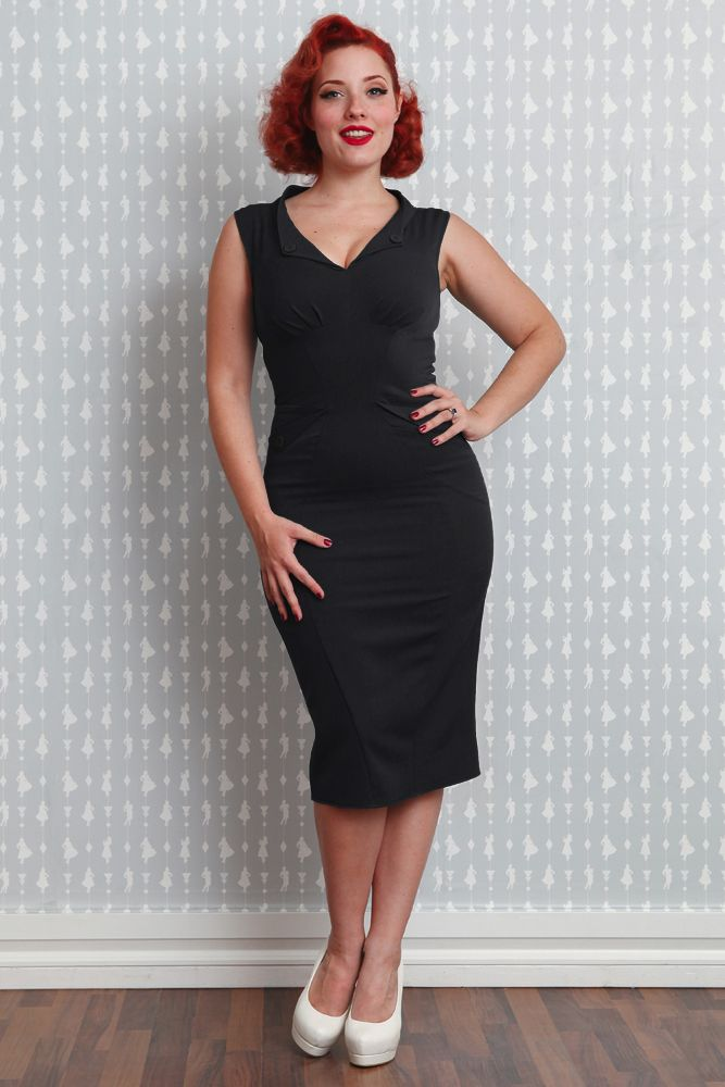 Miss Candyfloss Erika-Lou 1940s / 1950s Pencil Dress in Black