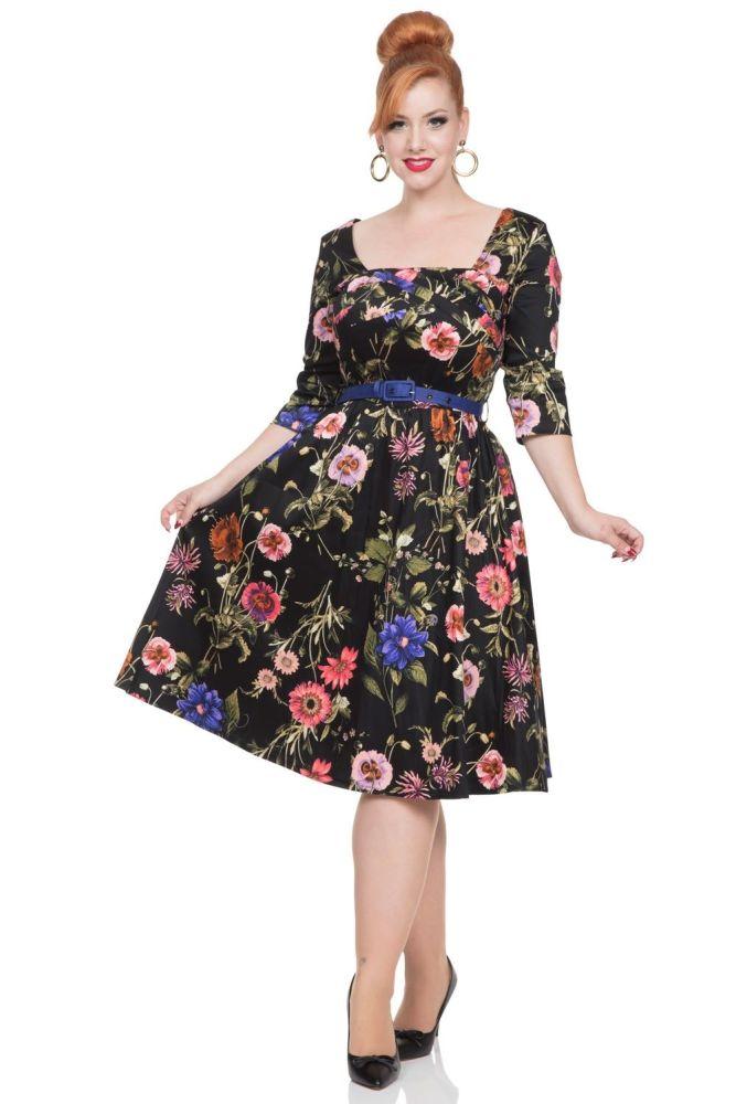 Vintage Style Allie 1950's Dress in dark florals