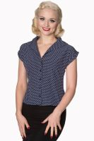 Dancing Days by Banned 1940's 1950's Lovely Day Blouse in Navy & White Polka Dot