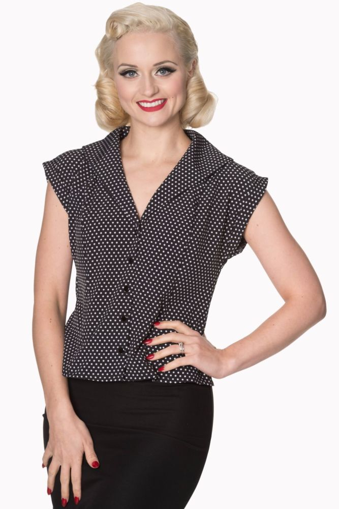 Dancing Days by Banned 1940's 1950's Lovely Day Blouse in Black & White Polka Dot - SIZES XS & S ONLY