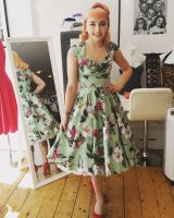 Hell Bunny 1950's Kalei Dress in Tropical Green