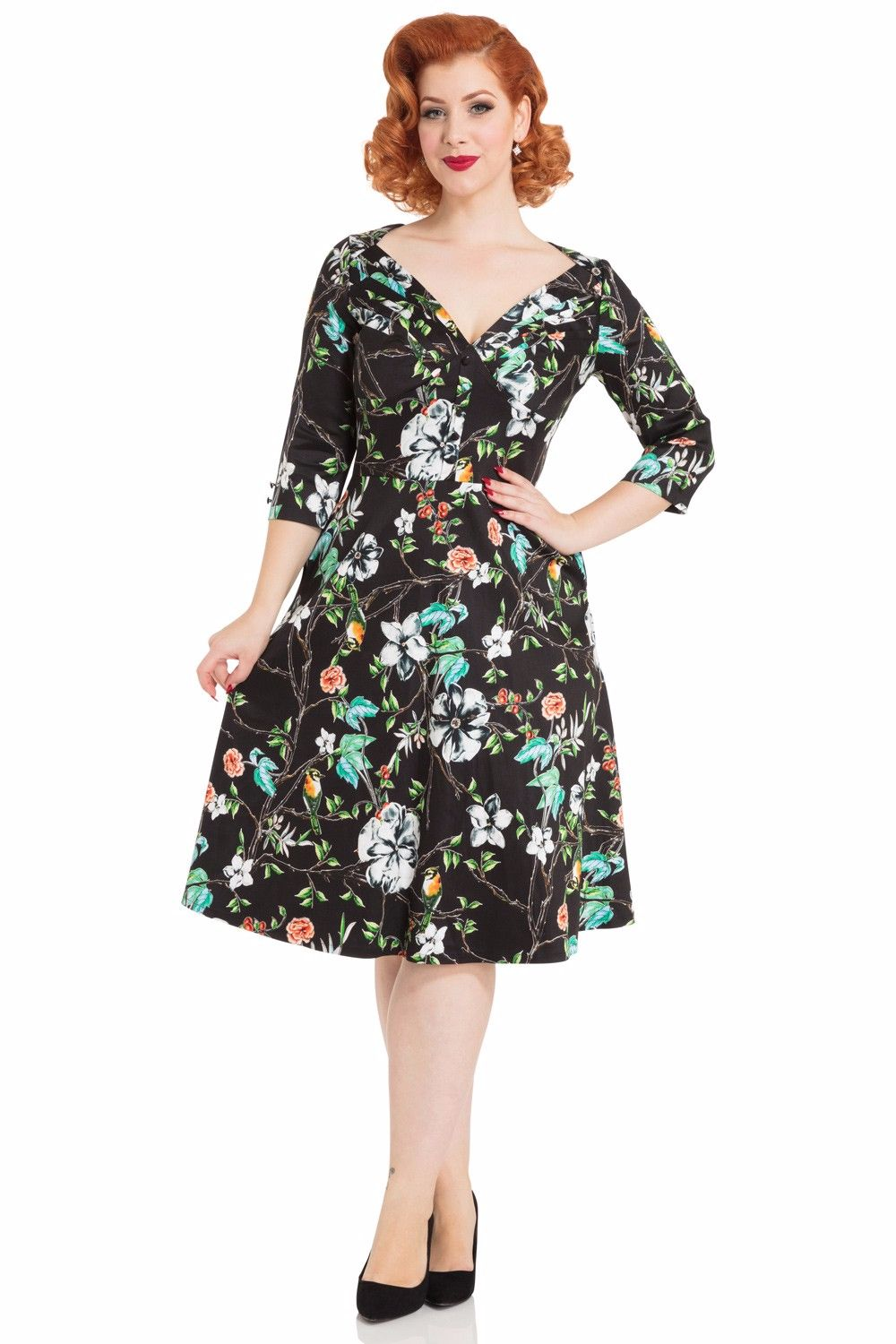 Voodoo Vixen Ellie Floral Swing Dress