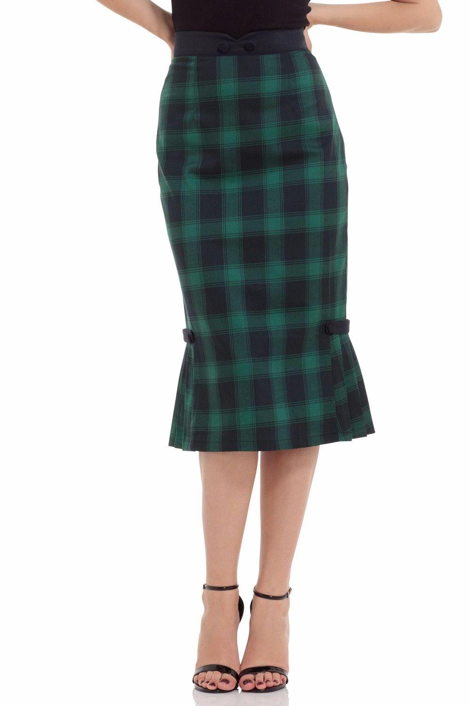 Voodoo Vixen Agnes Pleated Hem Skirt in