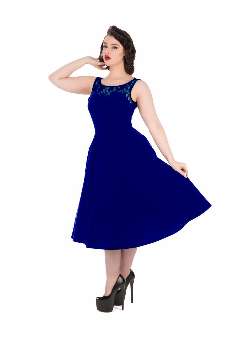 Hearts & Roses (London) 1950's Vintage Style Romance Dress in Blue Velvet