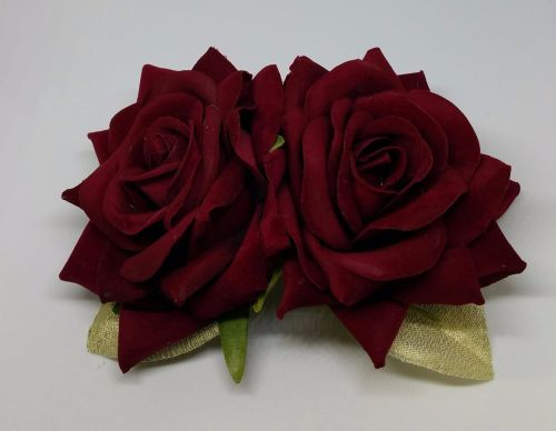Double Rose Hair Clip, Hand Made, 1940's Style in Deep Red Velvet with Gold