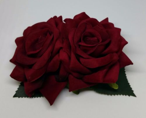 Double Rose Hair Clip, Hand Made, 1940's Style in Deep Red Velvet with Gree