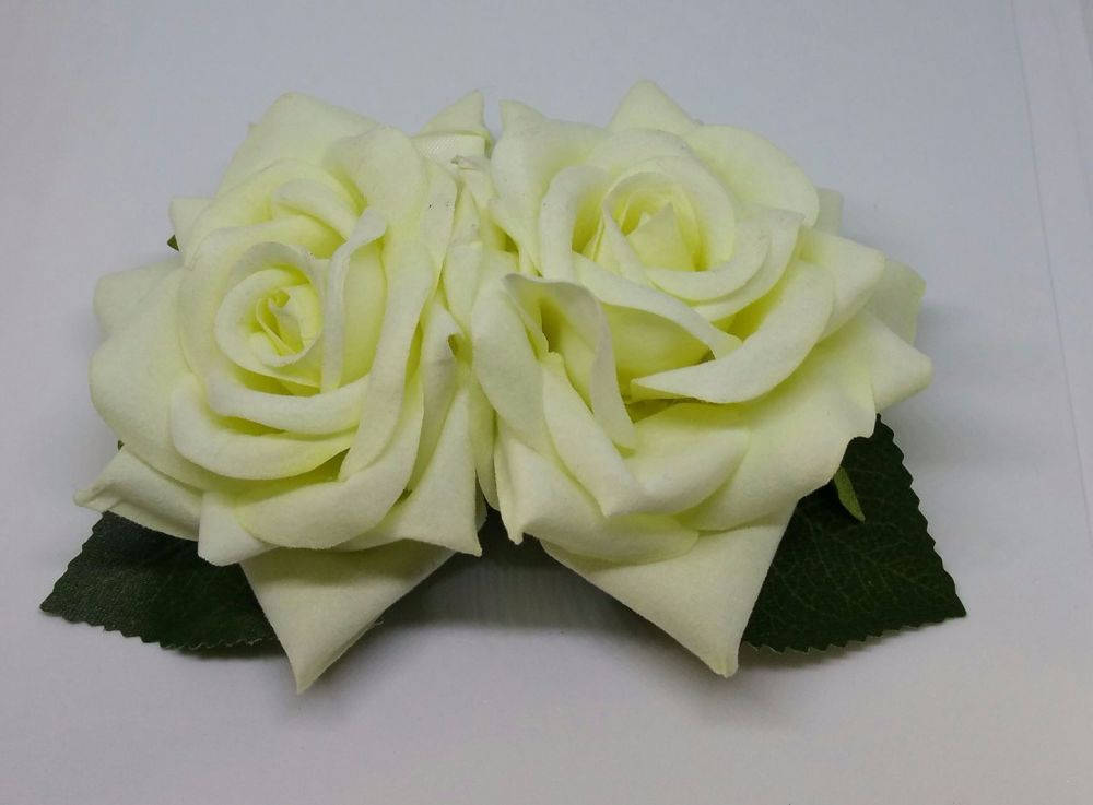 Double Rose Hair Clip, Hand Made, 1940's Style in Ivory Velvet with Green Leaves