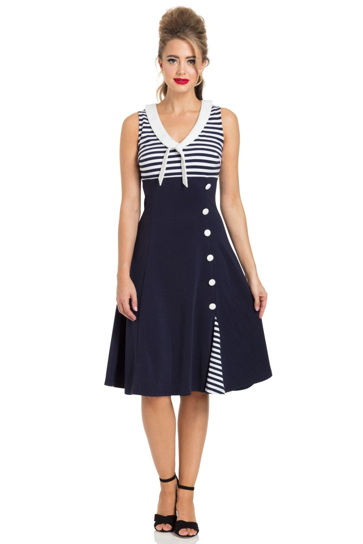 Voodoo Vixen Vera Nautical Flared Sailor Dress 1940\'s 1950\'s & 1960\'s