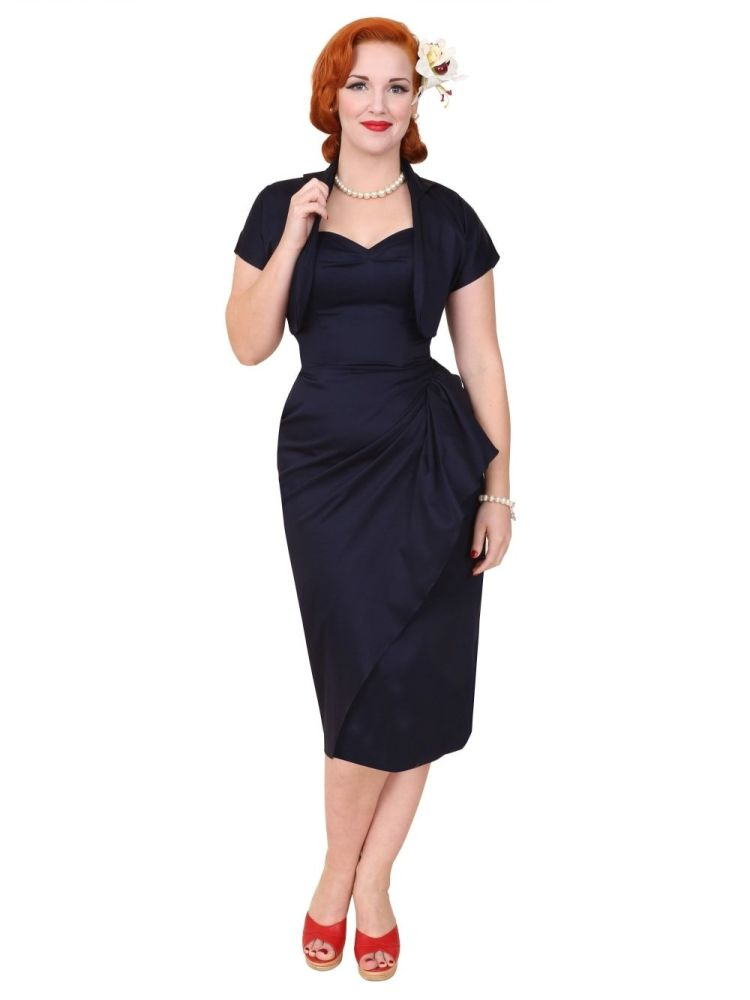 Vivien of Holloway 1940s Sarong and Bolero in Navy Size 12