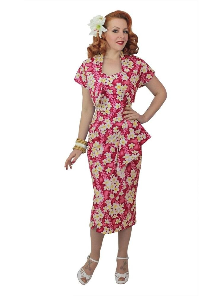 Vivien of Holloway 1940s Frangipani Sarong and Bolero in Pink