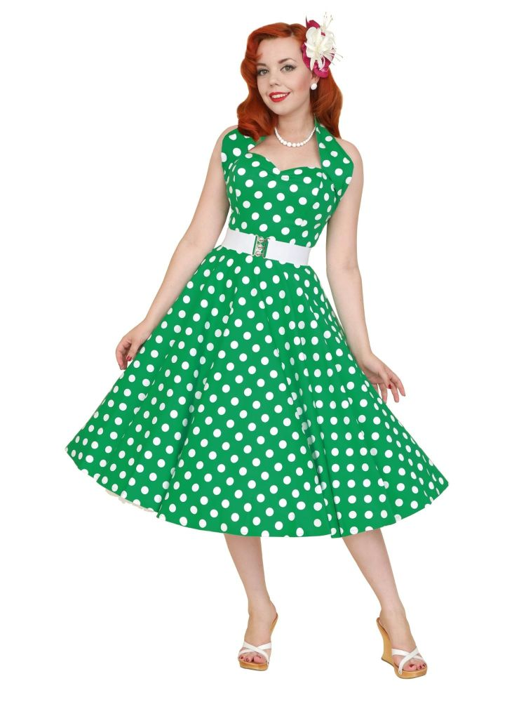 Vivien of Holloway 1950's Halterneck Circle Dress in Green Polka Dot