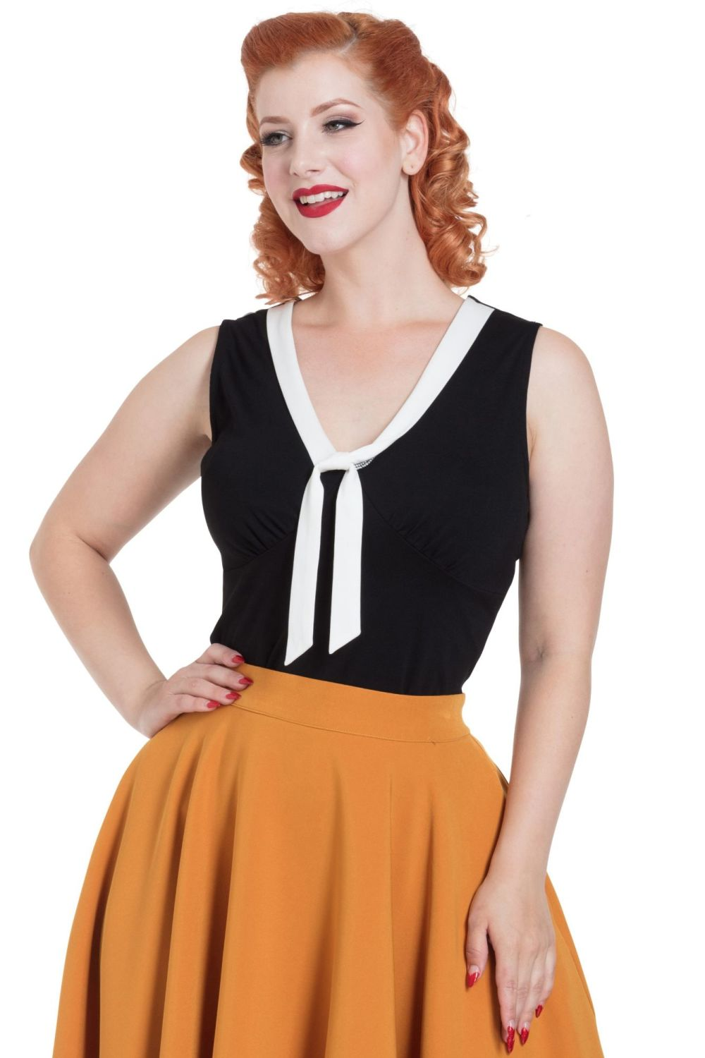 Voodoo Vixen Vintage Style Nellie Top with Contrast Tie - Black with White