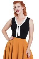 Voodoo Vixen Vintage Style Nellie Top with Contrast Tie - Black with White Tie
