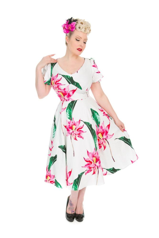 Vintage 50's  Retro Style Andromeda Floral Swing Dress