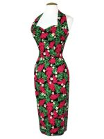 ***SALE*** Vivien of Holloway - 1950s Halterneck Red Palm Print Pencil Dress - Sizes 16 & 20 ONLY