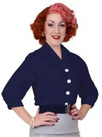 Vivien of Holloway - Raglan Blouse 1940s 1950s - Navy
