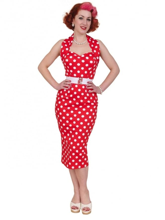 Vivien of Holloway Red Polka Dot Halterneck Pencil Dress
