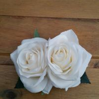 Double Rose Hair Clip, Hand Made, 1940's Style in Ivory Silk with Green Leaves