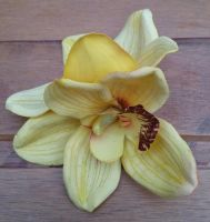 Double Yellow Cymbidium Orchid Hair Flower Clip Pin Up Forties Tiki
