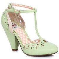 Bettie Page Elsie Shoes - Nude & Green - UK Size 7 (US 9; EU 39/40)