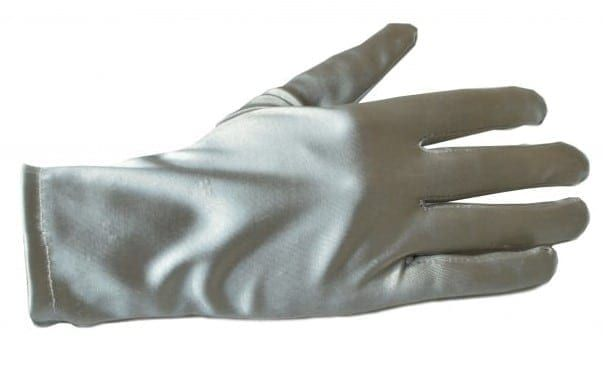 Collectif Silver Satin Gloves - Bracelet Length
