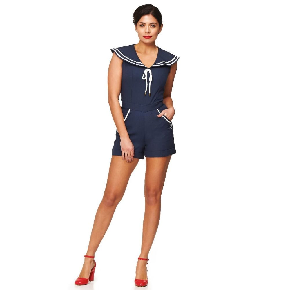 Dancing Days by Banned - Bianca Playsuit in Navy Nautical Theme - XS - UK8,