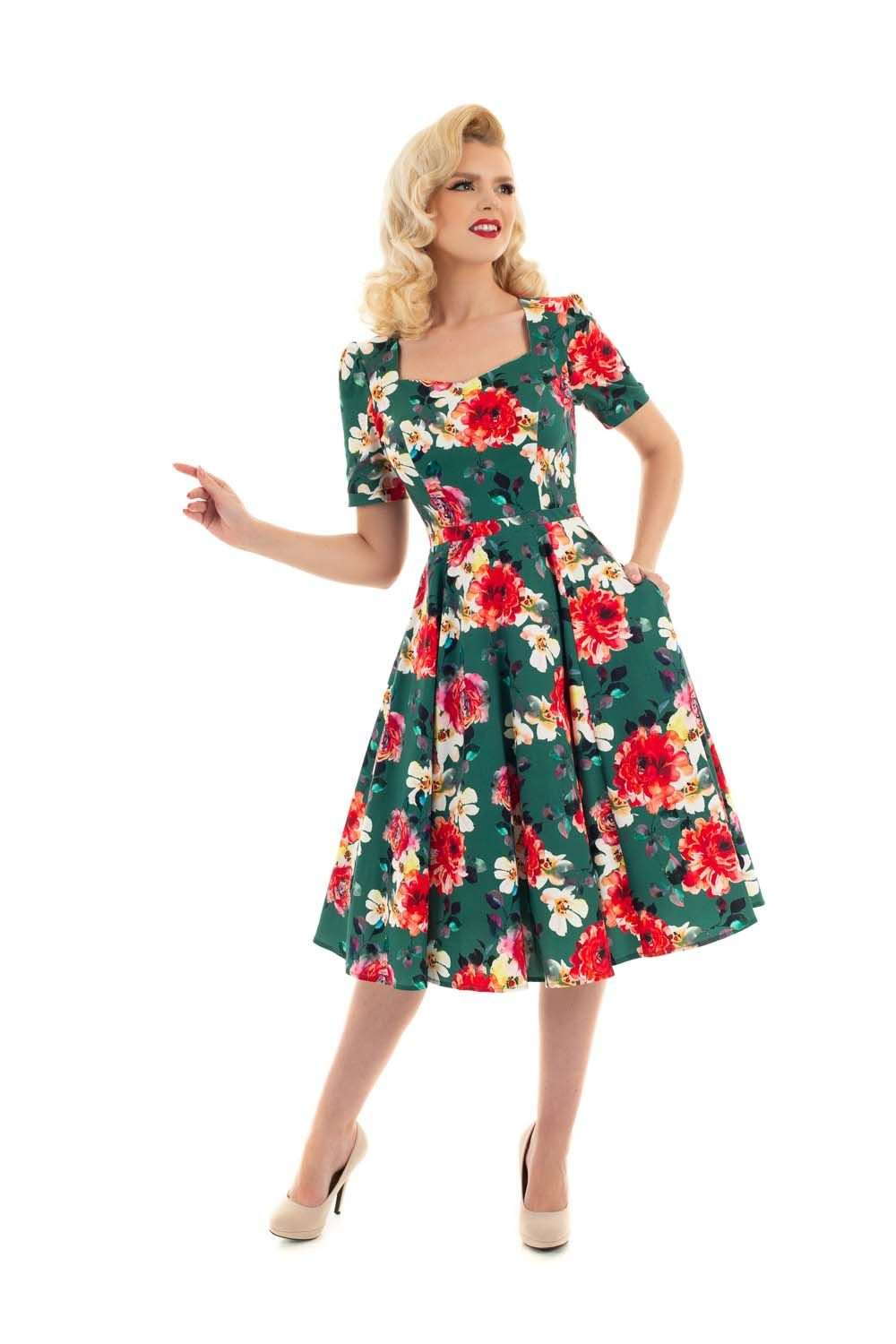 Hearts & Roses 50s Pamela Floral Swing Dress in Green