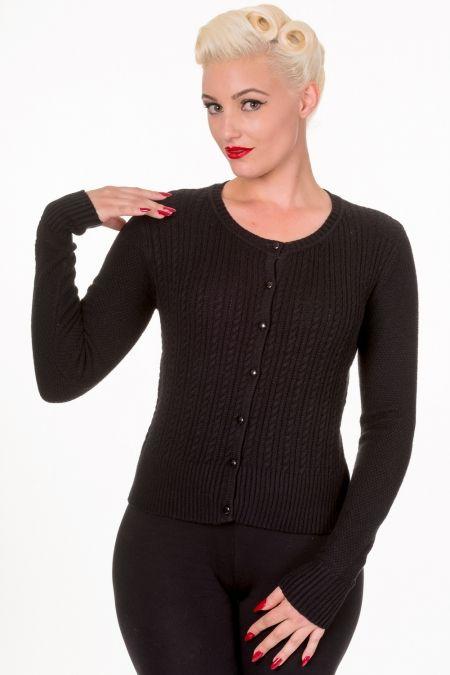 Vintage Style Cable Knit Elsie Cardigan in Black