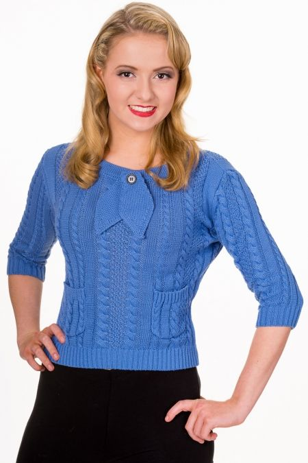 Vintage Style Cable Knit Lois Jumper in Azure Blue