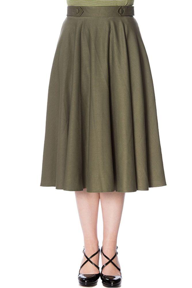 50s Diana Swing Skirt in Olive Green