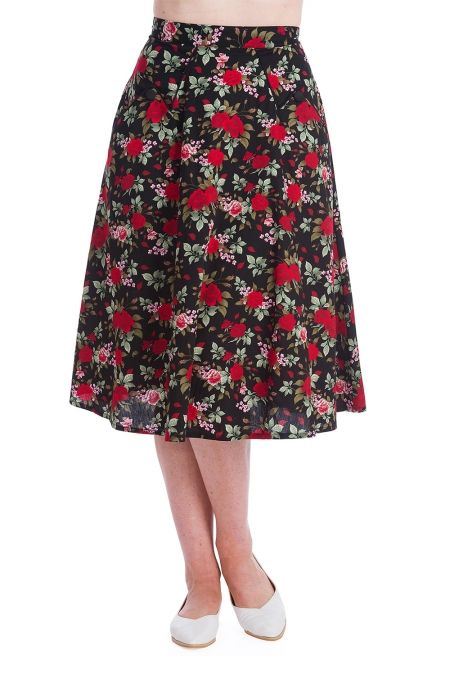 40s 50s Rosie Swing Skirt in black and red