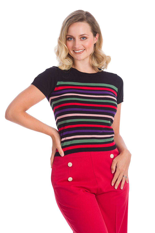 Suzie Strip Vintage Style Cotton Knit Top