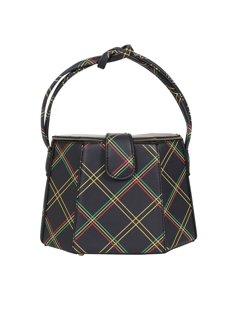 Vintage Style Felicity Bag in Black and Multi Pattern