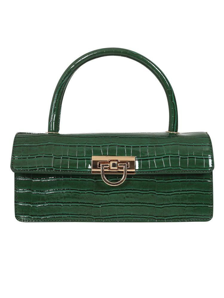 Vintage Style Caroline Croc Bag in Dark Green