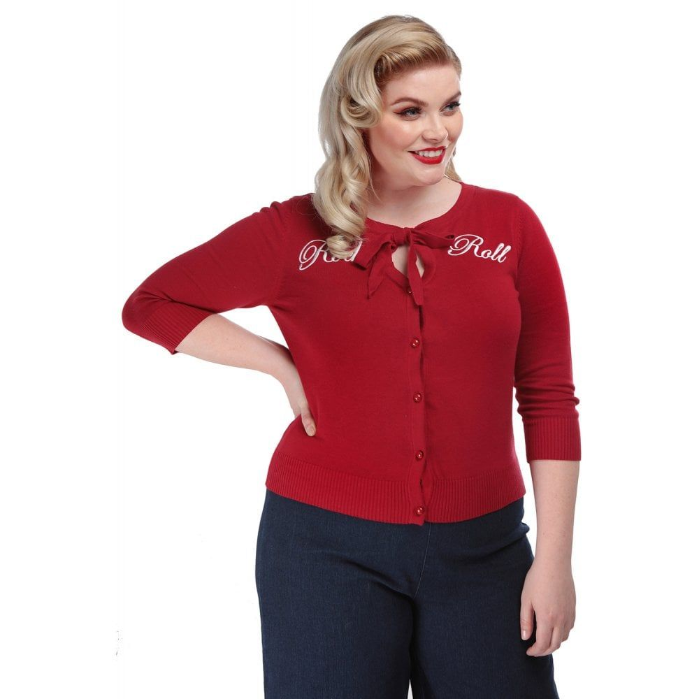 Vintage Style Rock and Roll Charlene Cardigan in Red