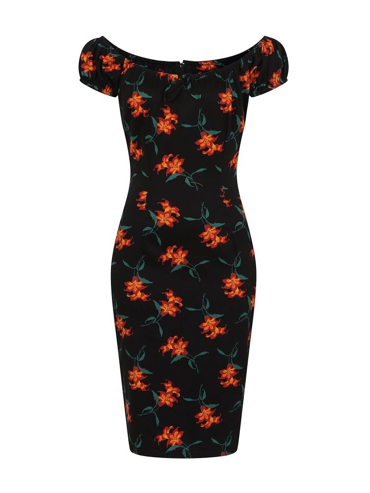 Vintage 50s 60s style Lily Pencil Dress in black, multi shades of red, orange and green