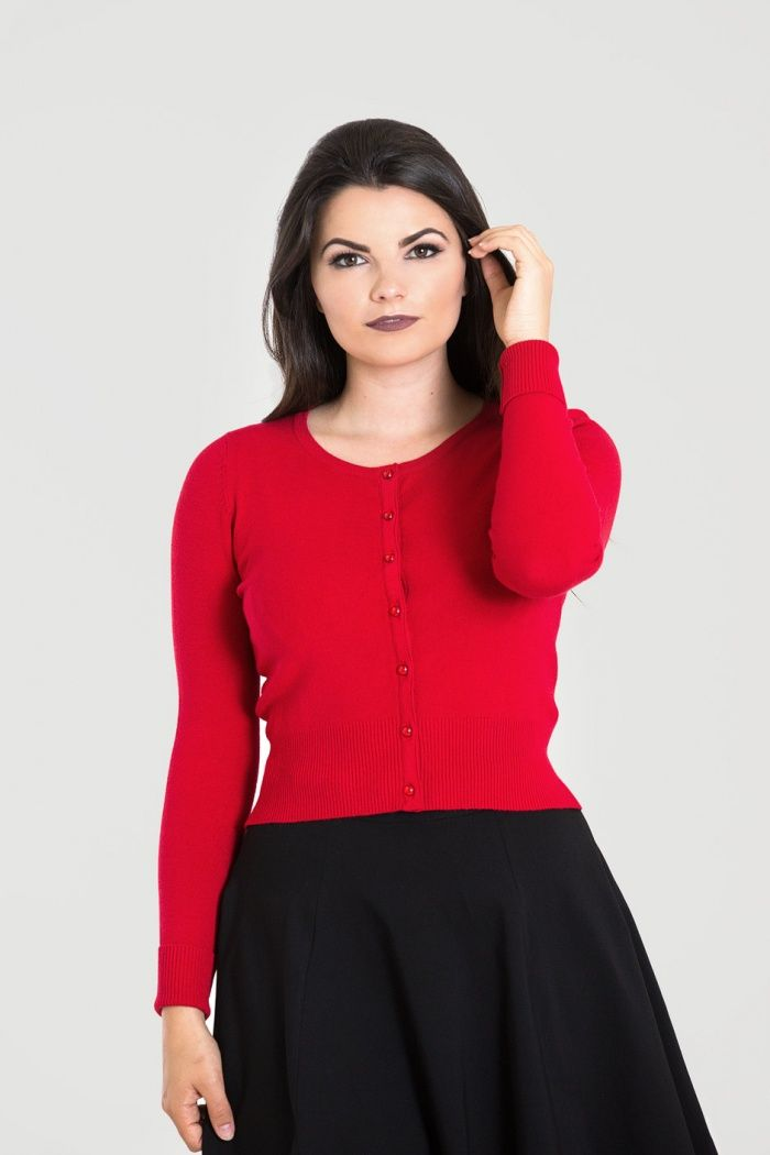 Vintage Style Cardigan Paloma in Retro Red