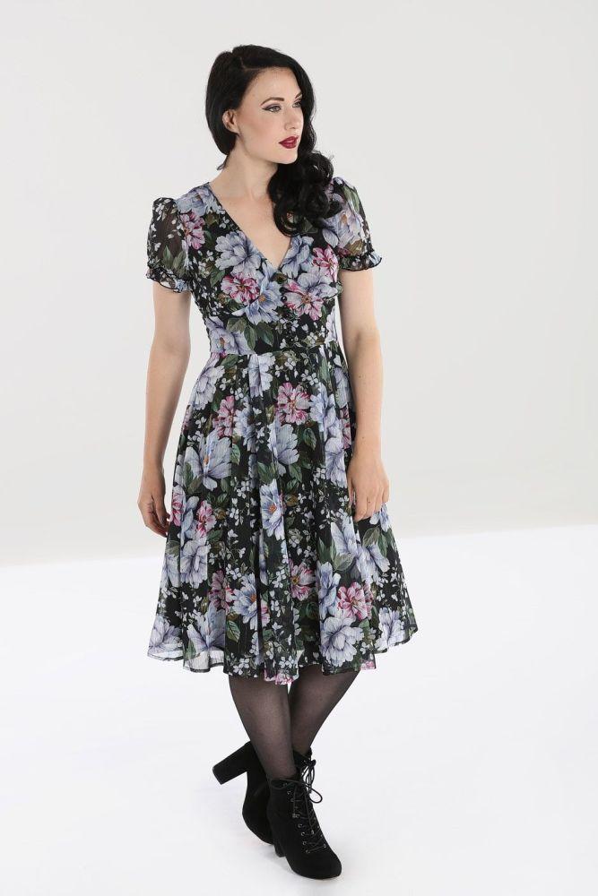 Vintage Style 1940s 50s Retro Floral Dress - Magnolia