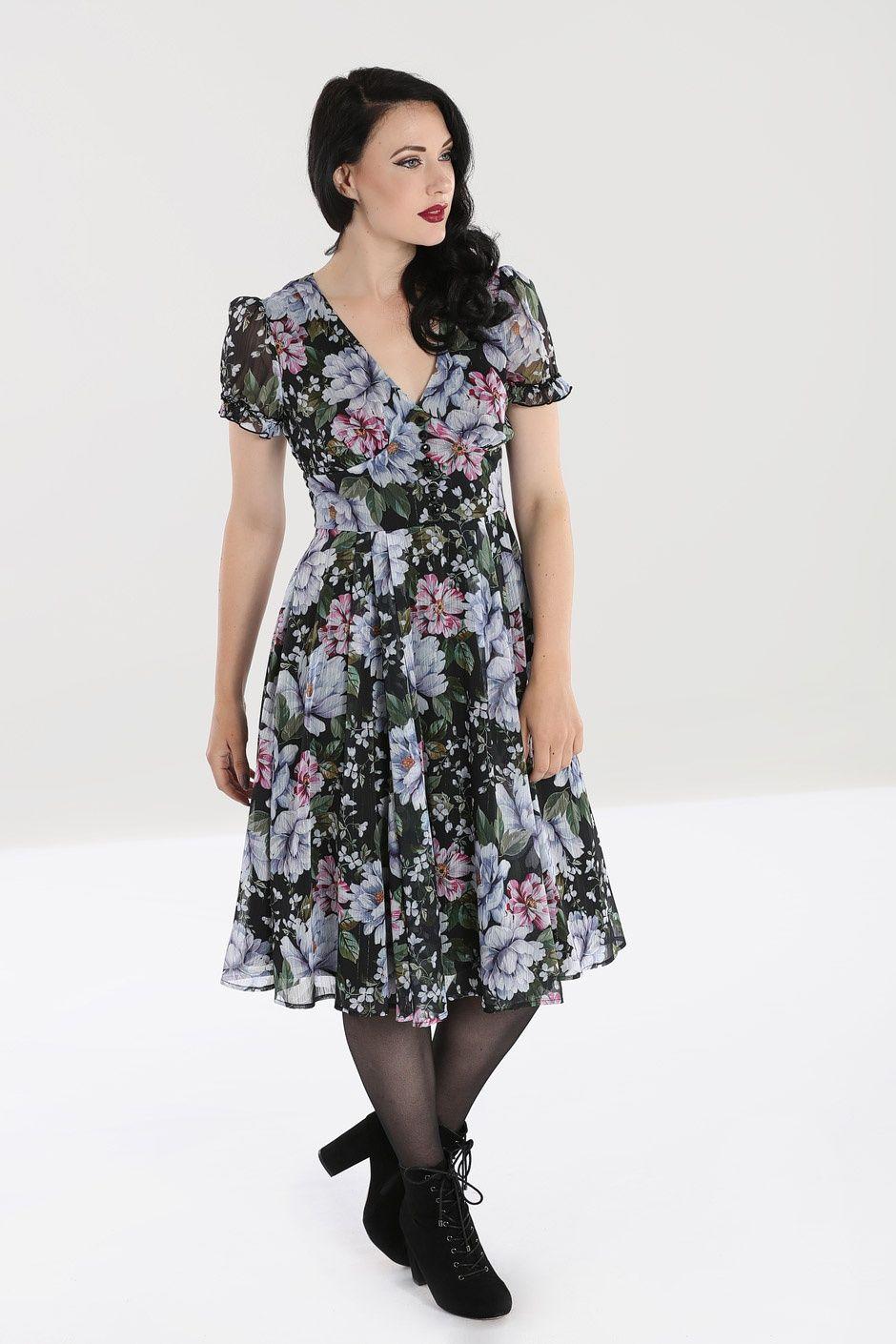 1940s 50s Vintage Style Retro Floral Dress - Magnolia