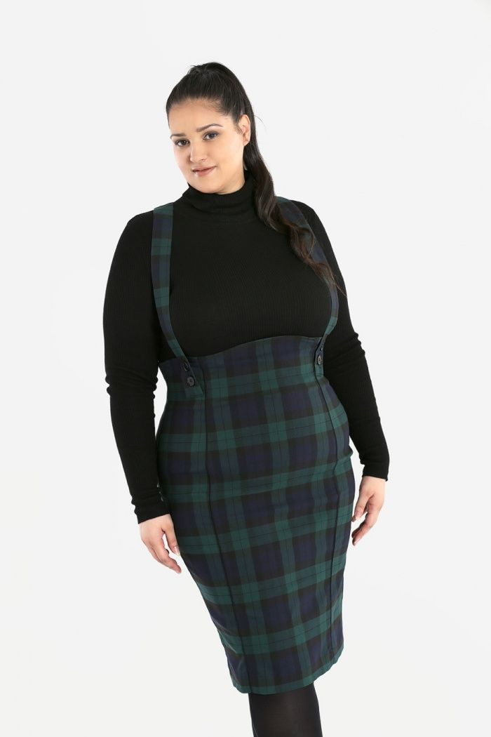 Vintage 1940's 1950's Retro Style Evelyn Pinafore Pencil Skirt in Navy and Forest Green Tartan