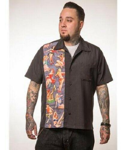 Steady Clothing Mens Vintage Bowling Shirt - Pin-Up Print Panel