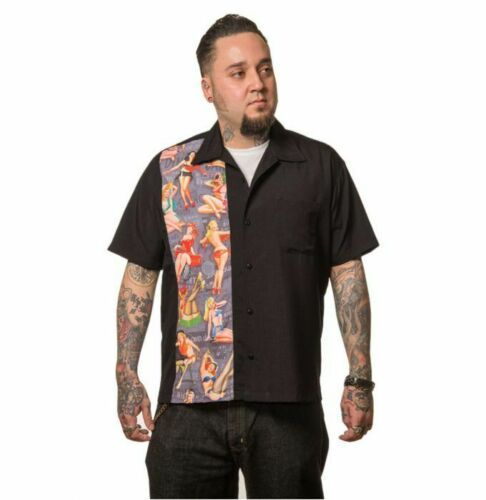 Steady Clothing Mens Black Button Up Bowling Shirt with Multi Pin-Up Print