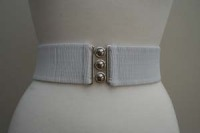 Square Up Fashions 2 1/4 inch wide 50s Retro Pinup Elasticated Waist Cinch Belt - White - Size S Only
