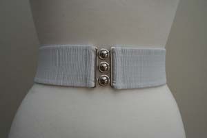 Vintage 1950's Style  2 1/4 inch wide  Retro Pinup Elasticated Waist Cinch Belt - White