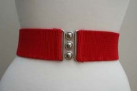 Square Up Fashions 2 1/4 inch wide 50s Retro Pinup Elasticated Waist Cinch Belt - Red - Sizes S & M Only